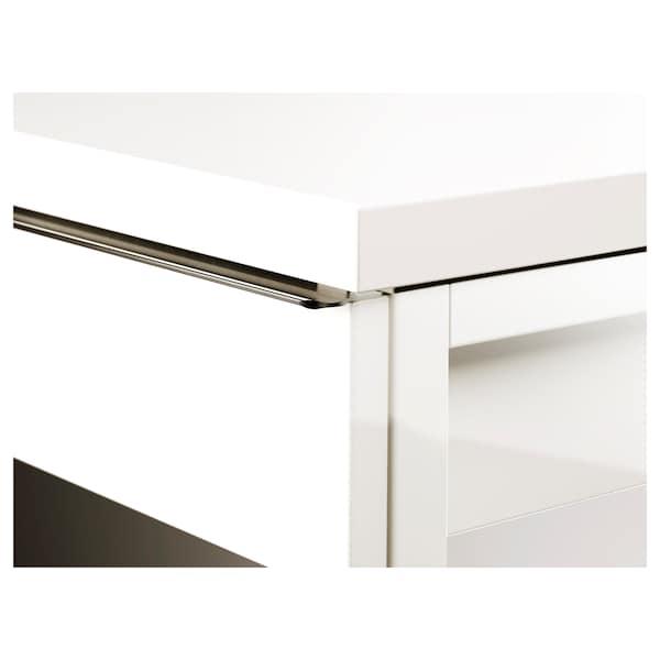 BESTÅ BURS Birou, lucios alb, 120x40 cm