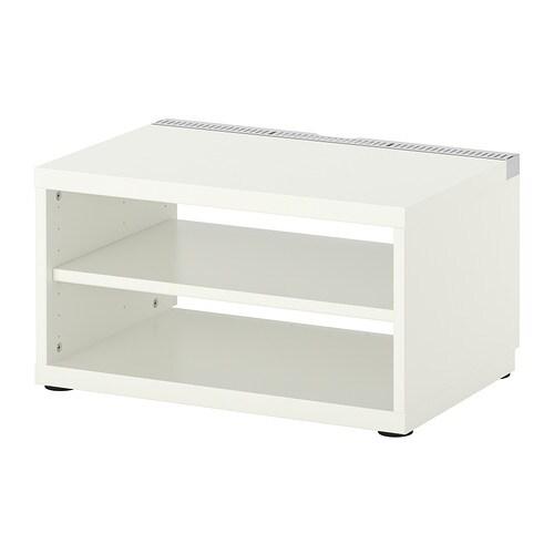 BESTÅ Comodă TV IKEA Orificii în partea superioară a comodei pentru o circulaţie  îmbunătăţită  a aerului în jurul componentelor electronice.