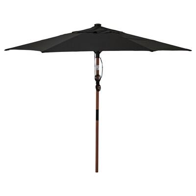 BETSÖ / LINDÖJA Umbrelă soare, maro aspect lemn/negru, 300 cm