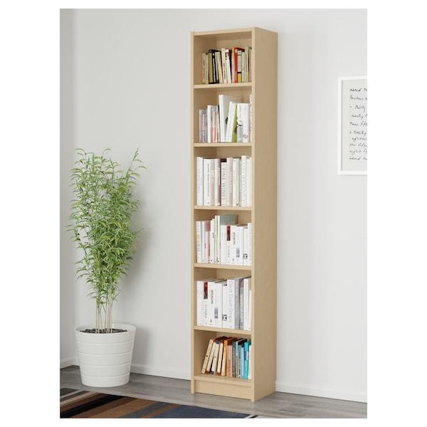 BILLY Bibliotecă, furnir mesteacăn, 40x28x202 cm