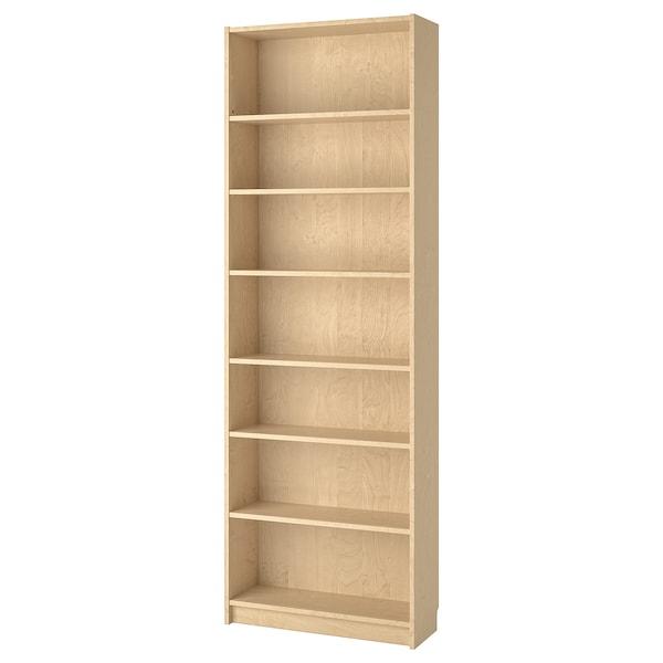 BILLY Bibliotecă, furnir mesteacăn, 80x28x237 cm