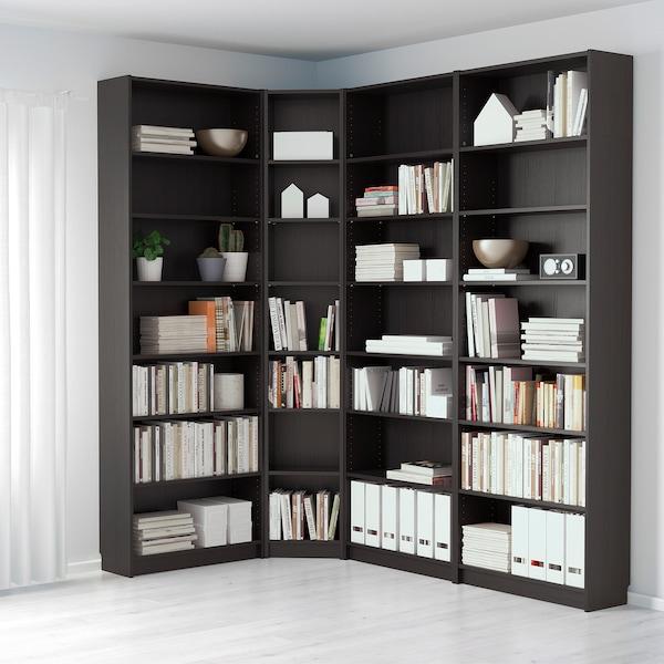 BILLY Bibliotecă, negru-maro, 215/135x28x237 cm