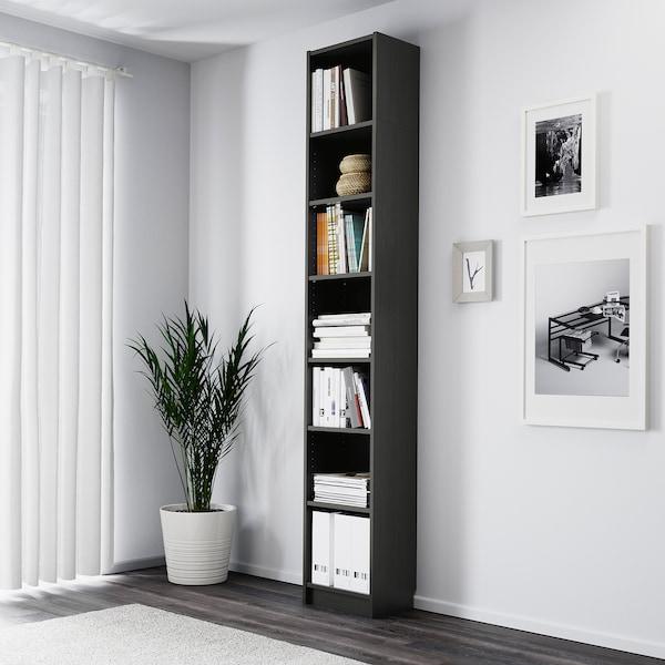 BILLY Bibliotecă, negru-maro, 40x28x237 cm
