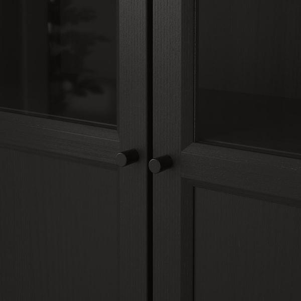 BILLY Bibliotecă+panou/uşă sticlă, negru-maro, 80x30x202 cm
