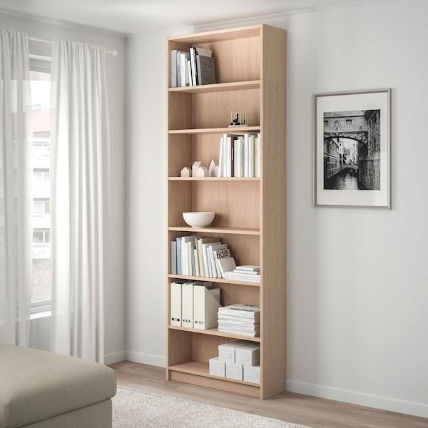 BILLY Bibliotecă+unitate extens înalţime, furnir stejar alb, 80x28x237 cm