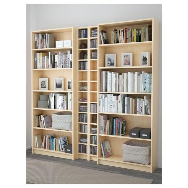 BILLY / GNEDBY Bibliotecă, furnir mesteacăn, 200x28x202 cm
