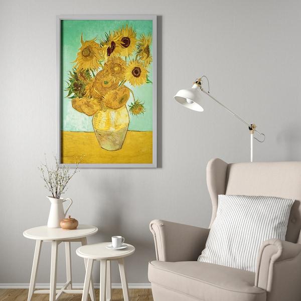 BJÖRKSTA Tablou/ramă, natură moartă/Vază douăsprezece floarea-soarelui aluminiu, 78x118 cm