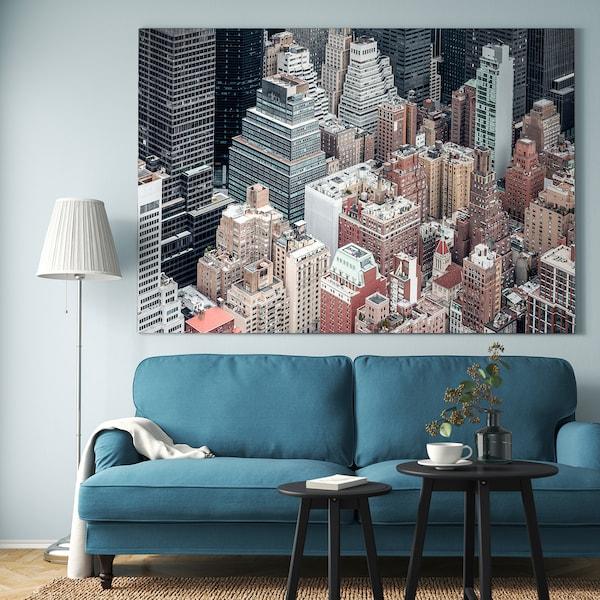 BJÖRKSTA Tablou/ramă, New York/aluminiu, 200x140 cm