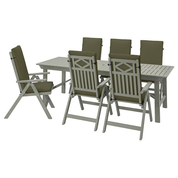 BONDHOLMEN Masă+6 scaune pliante, exterior, vopsit gri/Frösön/Duvholmen bej închis-verde