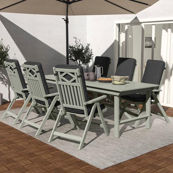 BONDHOLMEN Masă+6 scaune pliante, exterior, vopsit gri/Järpön/Duvholmen antracit