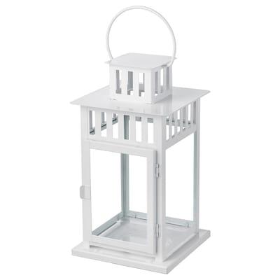 BORRBY Felinar lumânare bloc, interior/exterior alb, 28 cm