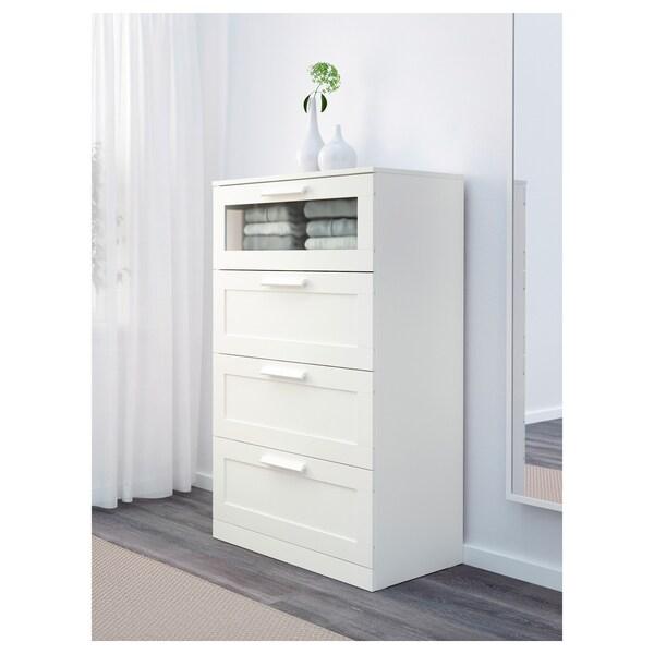BRIMNES Comodă 4 sertare, alb/sticlă mată, 78x124 cm