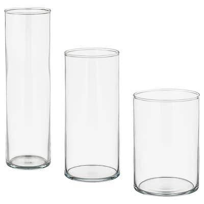 CYLINDER Set 3 vaze, sticlă transparentă