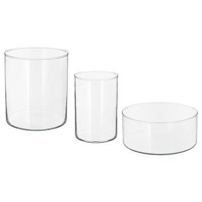 CYLINDER Vază/bol, 3buc, sticlă transparentă