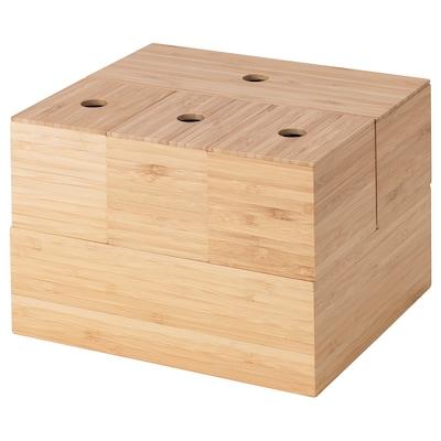 DRAGAN Set 5 cutii, bambus, 24x20 cm