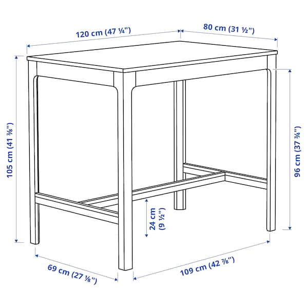 EKEDALEN Masă bar, maro închis, 120x80x105 cm