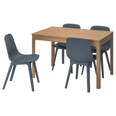 EKEDALEN / ODGER Masă + 4 scaune, stejar/albastru, 120/180 cm