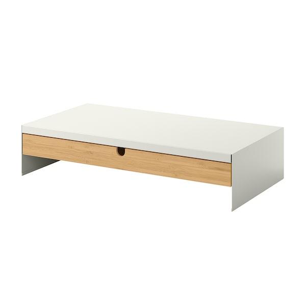 ELLOVEN Suport monitor cu sertar, alb