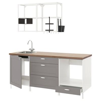 ENHET Bucătărie, alb/gri cadru, 203x63.5x222 cm