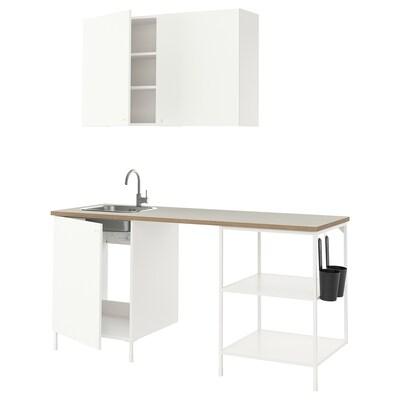 ENHET Bucătărie, alb, 183x63.5x222 cm