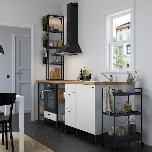 ENHET Bucătărie, antracit/alb, 243x63.5x241 cm