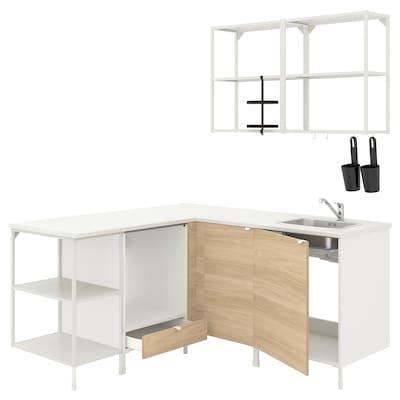 ENHET Bucătărie colţ, alb/aspect stejar
