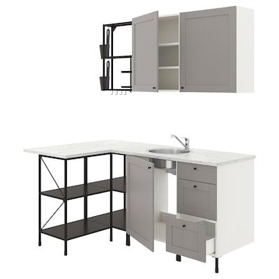 ENHET Bucătărie colţ, antracit/gri cadru