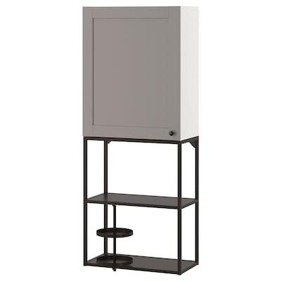 ENHET Combinaţie depozitare suspendată, antracit/gri cadru, 60x32x150 cm