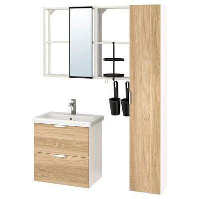 ENHET / TVÄLLEN Mobilier pentru baie, set 18 piese, aspect stejar/alb baterie Brogrund, 64x43x65 cm