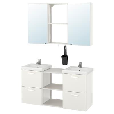ENHET / TVÄLLEN Mobilier pentru baie, set 22 piese, alb/baterie Pilkån, 124x43x65 cm