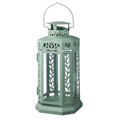 ENRUM Felinar lumânare bloc interior/ext, verde, 28 cm