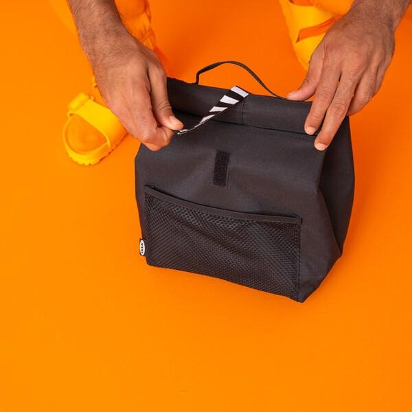 FRAMTUNG Sacoşă prânz, negru, 22x17x35 cm