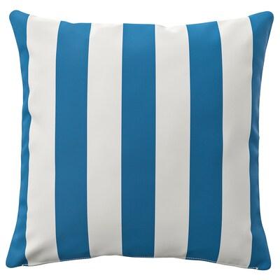 FUNKÖN Husă pernă, interior/exterior, albastru/alb, 50x50 cm