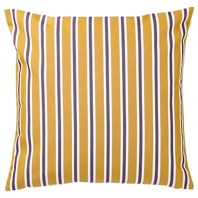 FUNKÖN Husă pernă, interior/exterior, galben închis/purpuriu, 50x50 cm