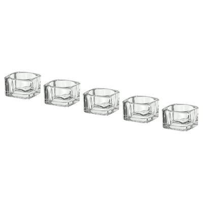 GLASIG Suport lumânare pastilă, sticlă transparentă, 5x5 cm