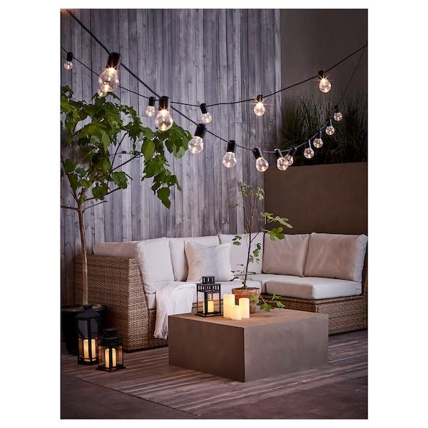 GODAFTON Lumânare bloc LED interior/exterior, cu baterii/natur, 14 cm