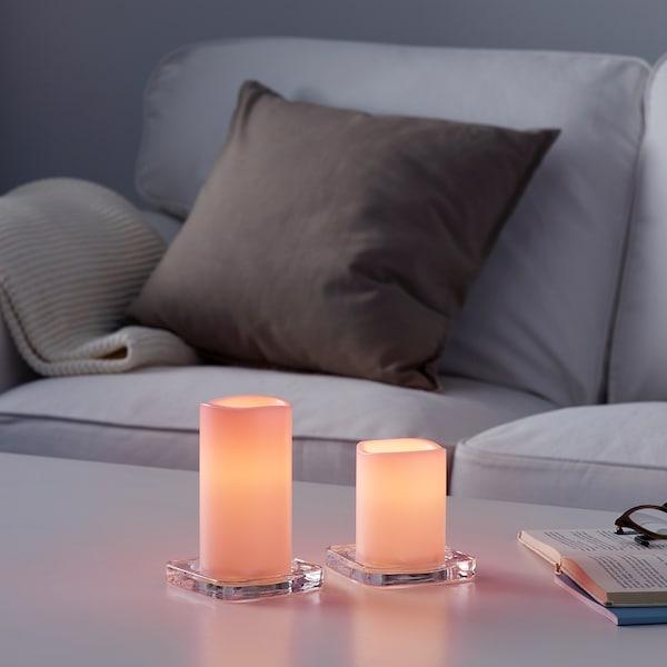 GODAFTON Lumânare LED bloc int/ext, 2buc, cu baterii roz