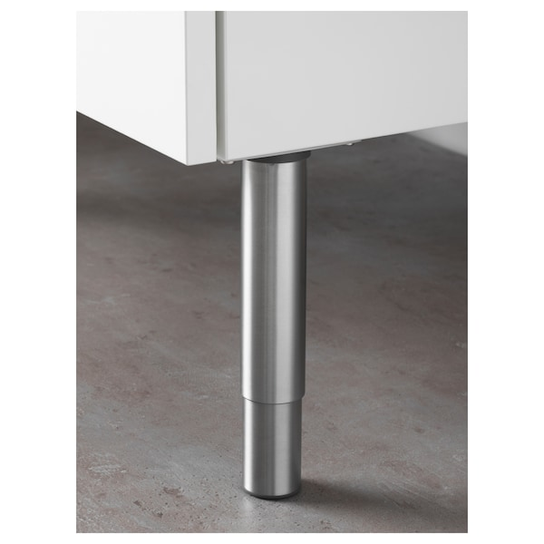 GODMORGON Picior, rotund/inox, 14/25 cm