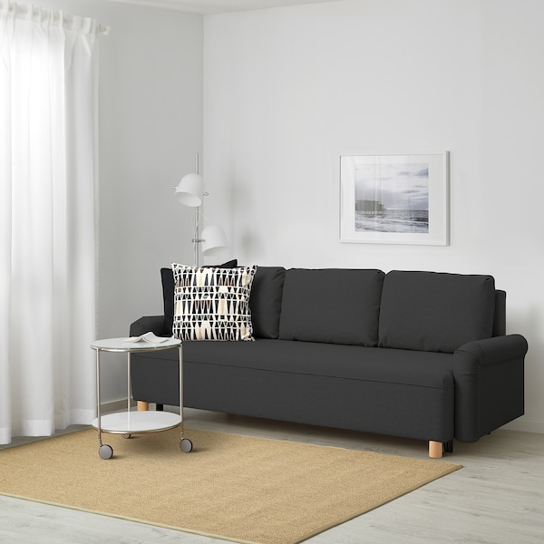 GRIMHULT Canapea extensibilă 3 locuri, gri