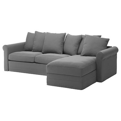 GRÖNLID Canapea 3 locuri cu şezlong, Ljungen gri mediu