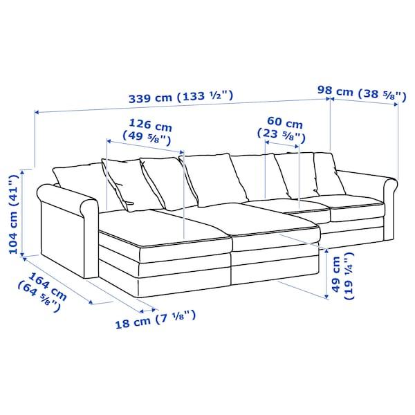 GRÖNLID Canapea 4 locuri cu şezlonguri, Sporda gri închis
