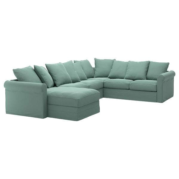 GRÖNLID Husă canapea colţ 5 locuri, cu șezlong/Ljungen verde deschis
