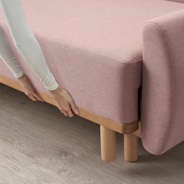GRUNNARP Canapea extensibilă 3 locuri, roz
