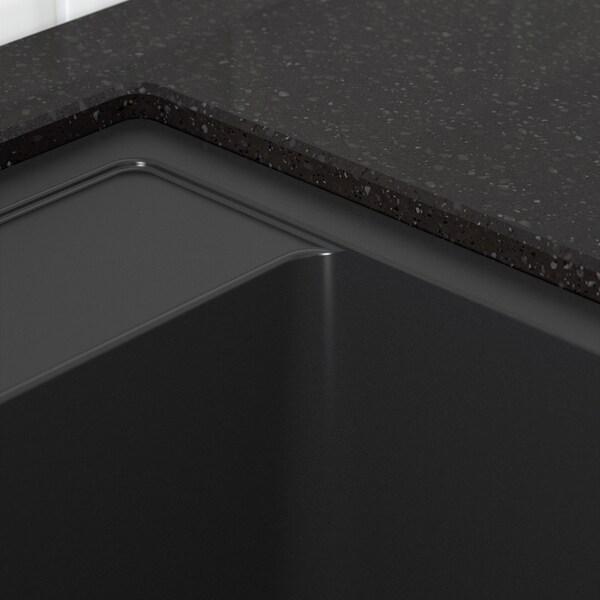 HÄLLVIKEN Chiuvetă încorporată 1cuvă, negru cmpz cuarţ, 56x50 cm