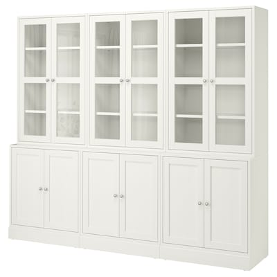 HAVSTA Ansamblu depozitare+uşi sticlă, alb, 243x47x212 cm