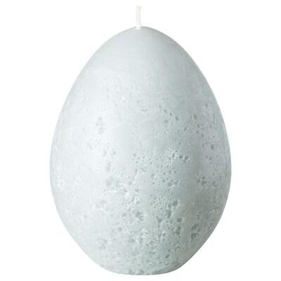 HEMBYGD Lumânare bloc neparfumată, formă ovală/gri, 11.5 cm