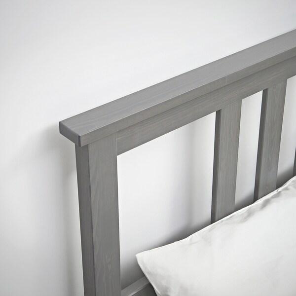 HEMNES Cadru pat cu 4 cutii depozitare, gri vopsit/Lönset, 140x200 cm