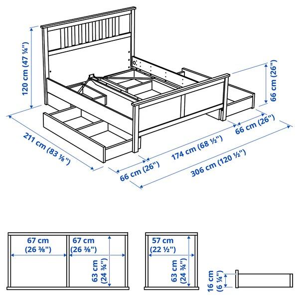 HEMNES Cadru pat cu 4 cutii depozitare, gri vopsit/Luröy, 160x200 cm
