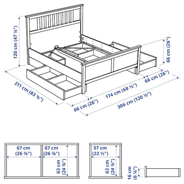 HEMNES Cadru pat cu 4 cutii depozitare, gri vopsit, 160x200 cm