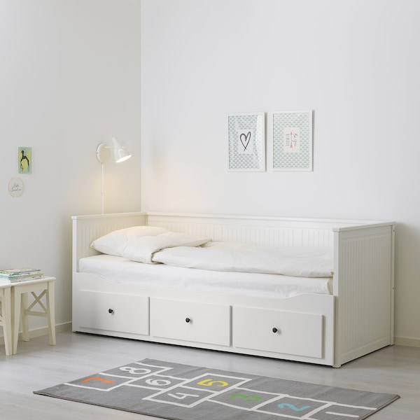 HEMNES Divan 3sertare/2saltele, alb/Malfors fermitate medie, 80x200 cm
